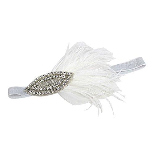 Gazechimp Damen Hochzeit Haar Clip Hut haarschmuck Feder Fascinator Stirnband - Weiß (Flapper-hut Jahren 1920er)