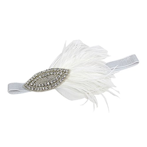 zeit Haar Clip Hut haarschmuck Feder Fascinator Stirnband - Weiß (Hüte & Fascinators Online)