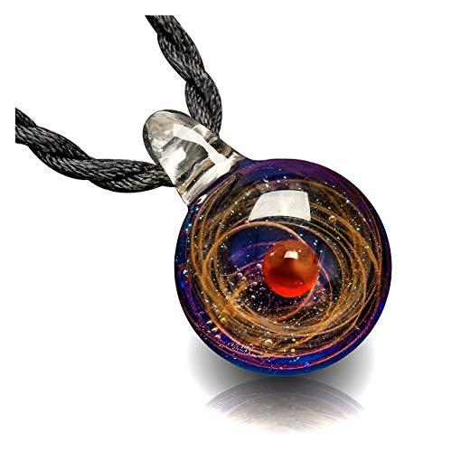 JSDDE Lampwork Glas Anhänger Halskette 20 * 30 cm 3D Glaskugel Universum Galaxy Nebel Planet Anhänger mit 2X Ketten Geschenk für Damen Herren(Rot)
