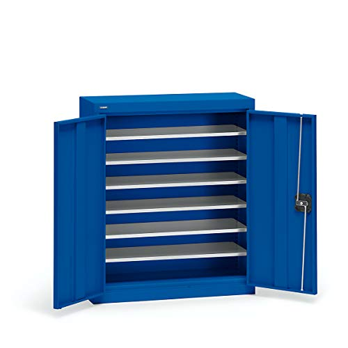 EUROKRAFT Materialschrank aus Stahlblech - Höhe 780 mm - enzianblau RAL 5010, 6 Böden - Flügeltürschrank Lagerkastenschrank Lagerkastenschränke Lagerkästenschrank Lagerkästenschränke Lagerschrank