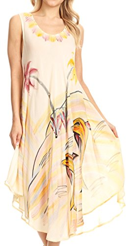 Sakkas 18122 - Valentina Summer Casual Light Cover-up Caftan Dress with Tropical Print - Beige - OS