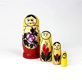 Heka Naturals Russian Matryoshka Nesting Dolls Hand Made Classic Yellow Top Babushka Doll Wooden Gift Toy