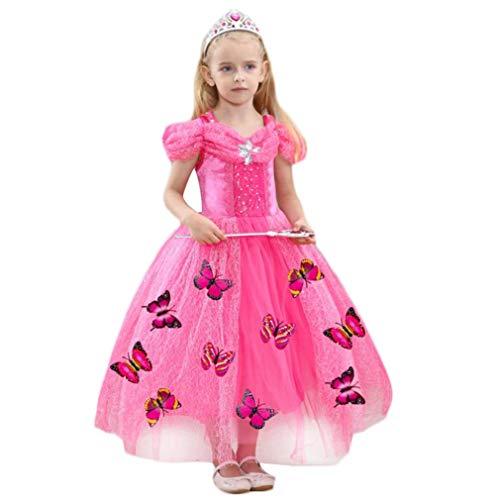 Taigood Mädchen kostüm Schnee königin Prinzessin Dress kostüm Butterfly Prinzessin Cosplay Dress up pink 100cm (Butterfly Princess Mädchen Kostüm)