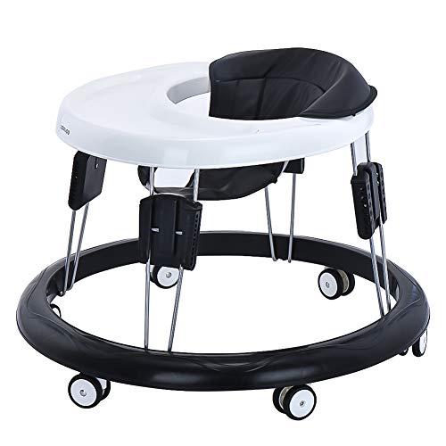 Andador Bebe, Silla de Bebe Plegable y Ajustable para bebés de 6 a 18 meses Negro