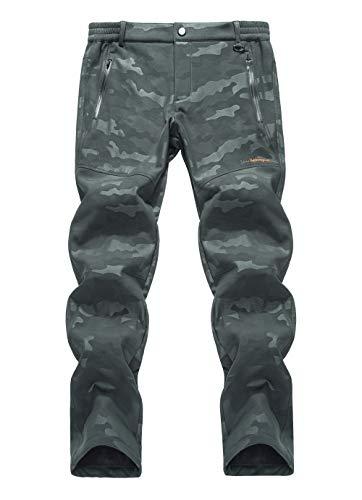 LY4U Outdoor Trekking da Campeggio per Uomo Impermeabile Soft Shell Foderato in Pile Spessore Caldo Resistente all'Usura Pantaloni Invernali mimetici Pantalo