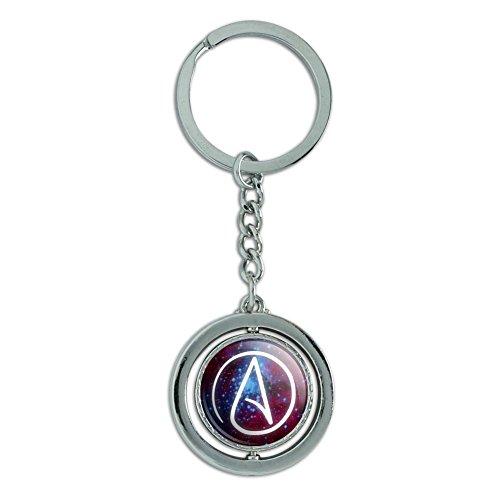Atheist Atheismus Symbol in Space Spinning rund chrom plattiert Metall Schlüsselanhänger Ring