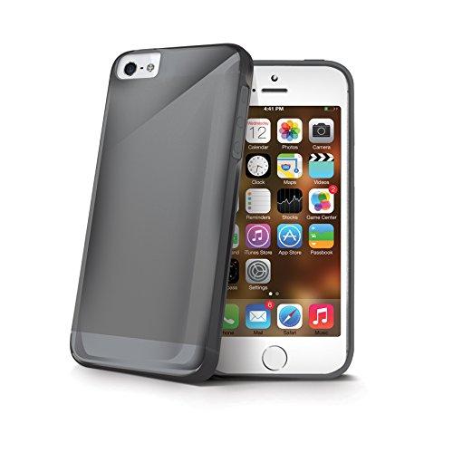 Celly GELSKIN185GR Custodia in TPU per iPhone SE/5/5S, Verde Sfumato Nero