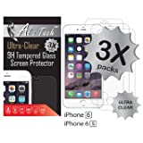 iPhone 6 Screen Protector, 3 pack Alia Tech™ iPhone 6 Screen Protector, Tempered Glass Screen Protector iPhone 6, 0.3 mm, 2.5D HD Clear Screen Prote