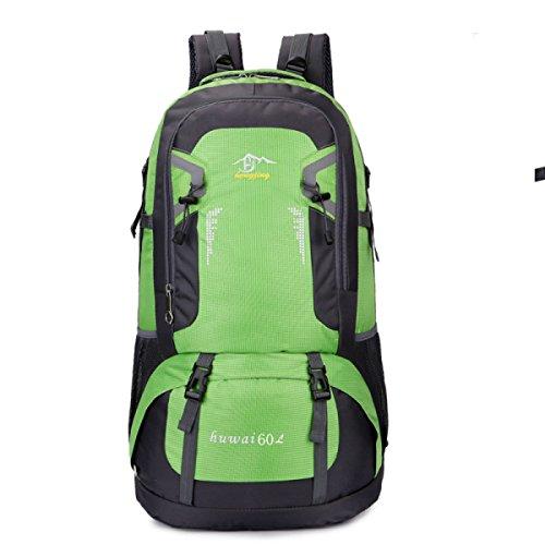 BULAGE Taschen Rucksäcke Outdoor Wandern Schultern M-Paket Tourismus Big Bags Wasserdicht Wandern Urlaub Reitet Mit Hohen Kapazität Computer Green