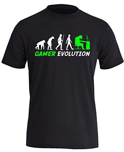 Gamer Evolution - Evolution Computer, Playstation XBox Spieler - Perfektes Geschenk für jeden Zocker - Herren Rundhals T-Shirt Schwarz/Weiss-neongruen