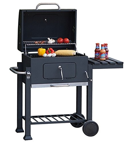 Charcoal barbecue grill, cart grill, BBQ smoker, charcoal