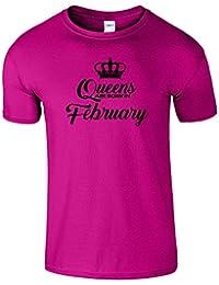 Queen Are Born In February Enfants Filles Garçons Drole T-Shirt