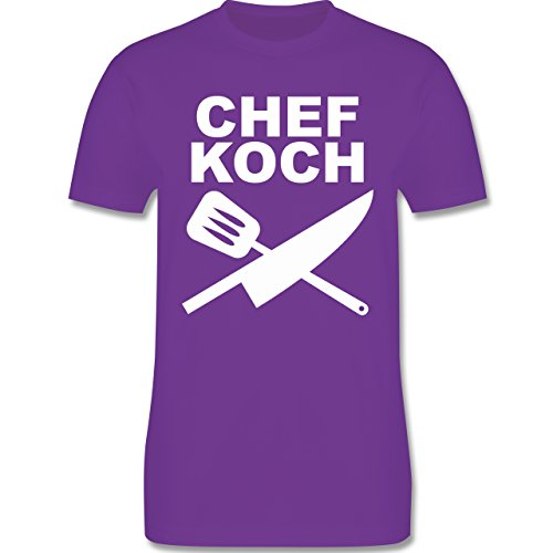 Küche - Chefkoch Messer - Herren Premium T-Shirt Lila