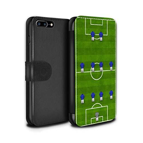 Stuff4 Coque/Etui/Housse Cuir PU Case/Cover pour Apple iPhone 7 Plus / 4-2-3-1/Blanc Design / Formation Football Collection 4-4-2/Bleu