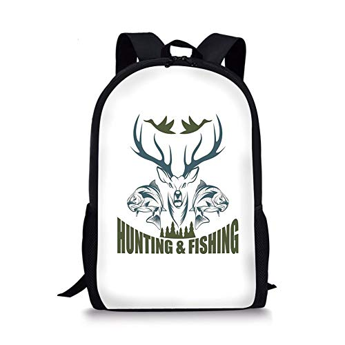 School Bags Hunting Decor,Artistic Emblem Moose Head Horns Trout Salmon Sea Fishes Decorative,Olive Green Slate Blue White for Boys&Girls Mens Sport Daypack -