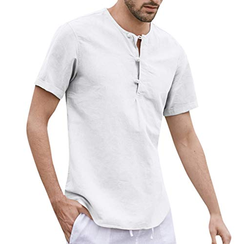 Cotton Linen Button Shirts Solide Kurzarm O-Neck Tops Blusen(Weiß,Weiß) ()