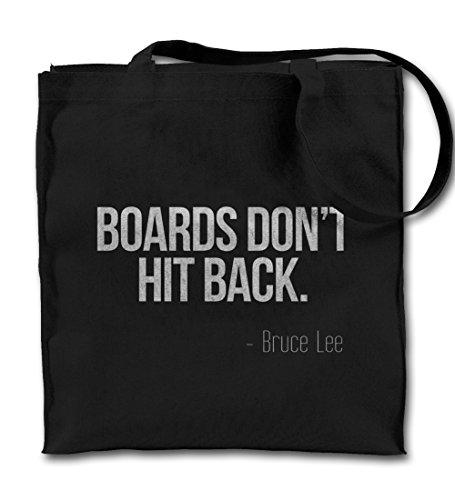 Bords Don't Kick Back Motivation Bruce Lee Zitat Schwarz Canvas Tote Tragetasche, Tuch Einkaufen Umhängetasche (Dont Kick)