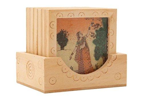 Gepolstert Queen-bett (Set von 6 aus Holz handgemacht eingraviert Untersetzer für Tee & Kaffee mit Box)
