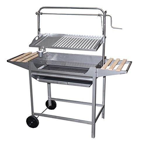 IMEX EL ZORRO 71767 Barbecue Inoxydable avec parrilla-plancha, Ascenseur, Roues et Plateaux latéraux, Gris, 124 x 50 x 140 cm