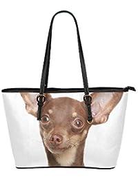7e749d04dd317 Qdosk Russische Toy Terrier Welpen Große Weiche Leder Tragbare Top Hand  Totes Taschen Kausale Handtaschen Mit Reißverschluss Schulter…