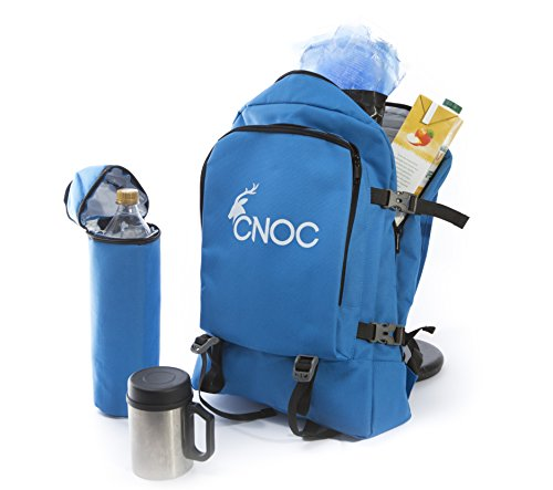 CNOC Kühlrucksack | Rucksack mit Kühlfach - ideal für 2-4 Personen - mit separatem abnehmbarem Flaschenkühler - ideal für Picknick & Wandern - blau, isoliert & wasserfest