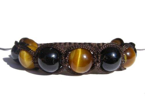 ZENstore Braccialetto Shamballa annodato con occhio di tigre e tormalina nera 17-21 cm Unisex, Gemme, Multicolore, Fatto a mano