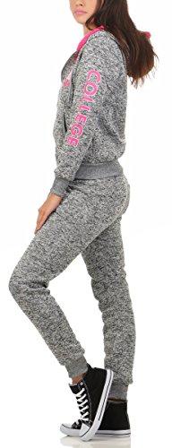 10627 Fashion4Young Hausanzug mit Kapuzenpullover I Jogginganzug Jacke Hose Sportanzug Fitness Trainingsanzug Wellnessanzug dunkelgrau-pink