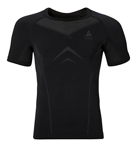 Odlo Herren Shirt S/S Crew Neck Evolution Light Unterhemd black - odlo graphite grey