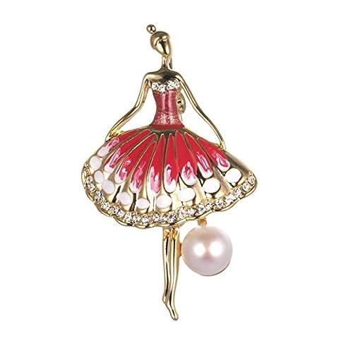 Wowen Brosche Weihnachten Frauen New Fashion Jewelry AAAA Grade 8,5mm Perle Zirkon Dancing Girl Brosche (Dancing Santa Weihnachten)