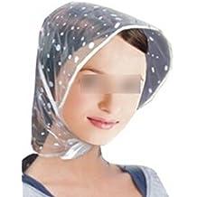 Lluvia plástico reutilizable sombrero gorra Bonnet w / visera para dama estilo Ranodom