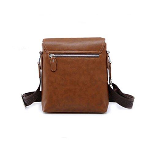 FOLLOWUS Mode Herren Leder Beiläufig Umhängetasche Handtasche Geschäft Schultertasche Messenger Bag Braun