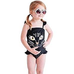 Bañador para niña K-youth® Gato Impresión Conjunto de Bikini Niñas Traje de Baño Niña Bikini Conjunto de traje de baño Barato Bañador de Una Pieza para Niña de Vacaciones de Verano (Negro, 5-6 años)