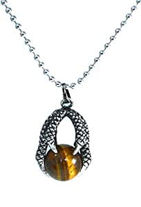 Dragon Egg Claw Necklace with Tiger's Eye Semi-Precious Gem Stone (in Gift Bag)