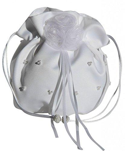 hochzeits-shop-hamburg HBH Hamburger Brautmoden Brauthandtasche M6861 Weiß (Satin Handtasche Blume Weiße)