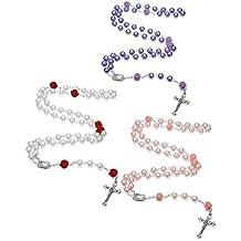 f4963ae7a493 Milacolato 3 Unids Collar de Rosario de Perlas de Imitación para Mujeres  Niñas Regalos de Primera