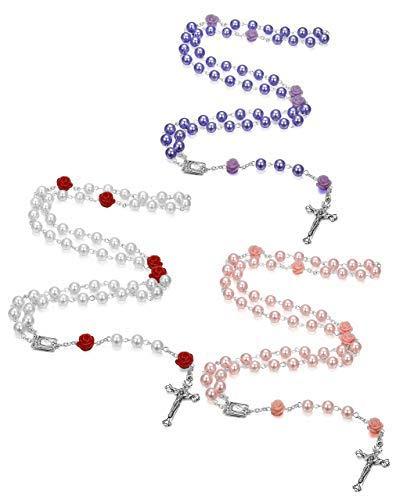 Milacolato 3Pcs Nachahmung Perlen Rosenkranz Halskette für Frauen Mädchen erste Kommunion Geschenke katholischen Kruzifix Anhänger Halskette Heilige Rosenkranz Perlen (Erste Geschenke Mädchen Kommunion)
