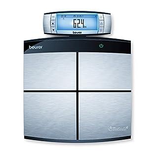 Beurer BF 105 Diagnosewaage, digitale Personenwaage zur Ganzkörperanalyse, mit App, XXL-Display, Messung von Körperfett, Muskelanteil, grau / schwarz