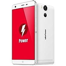 Ulefone Power,Android 6.0,6050mAh gran batería,5.5 pulgada FHD 1920*1080 píxeles,3GB RAM+16GB ROM,5MP+13MP caméra,64 Bit MTK6753 Octa Core 1.3GHz CPU,4g al aire libre impermeable smartphone,blanco