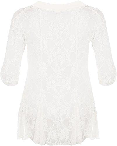WearAll - Damen Übergröße Spitze Offen Cardigan Top - 7 Farben - Größe 40-54 Crème