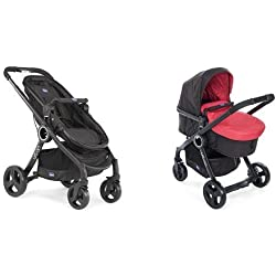 Chicco Urban Plus Passeggino, Nero + Colour Pack Urban Stroller Kit Passeggino, Red Passion