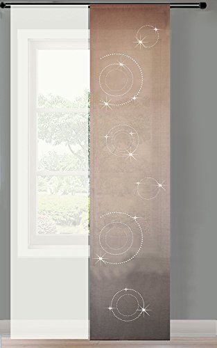 2er Set Schiebegardine Flächenvorhang Circle Strass Wildseide Optik und Voile Paneel, 245x60, Sand, 85625