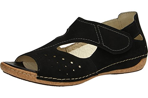 Waldlaufer Womens Denver Heliett Leather Sandals Black