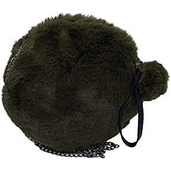 Goodforgoods Bolso redondo de pelo sintético con asas de cadena metálica y una asa manual. El bolso tiene cremallera y un pompón de pelo sintético. El bolso tiene las medidas de 32x32x3 cm. (Marrón)