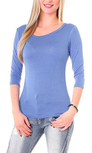Manches 3/4 pour femme basic t-shirt manches longues à col rond, etc.) ou drunter porter Bleu - Bleu roi