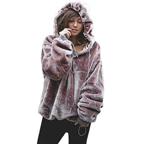 VJGOAL Damen Jacke, Damen Weiche Flauschige Pullover warme Winter Outwear Langarm mit Kapuze Jumper Sweatshirt Oversize Mantel (Violett, 38) (Halloween-party-ideen Für Die Grundschule)