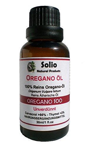 Solio Natural Products Oregano 100. Reines 100% griechisches ätherisches Oregano Öl Mindestens 86% Carvacrol 30 ml-1oz