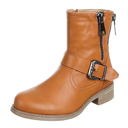 Damen Schuhe STIEFELETTEN GEFÜTTERTE SCHNALLEN DEKO BOOTS Farben: Schwarz Camel Khaki Größen: 36 37 38 39 40 41 Camel
