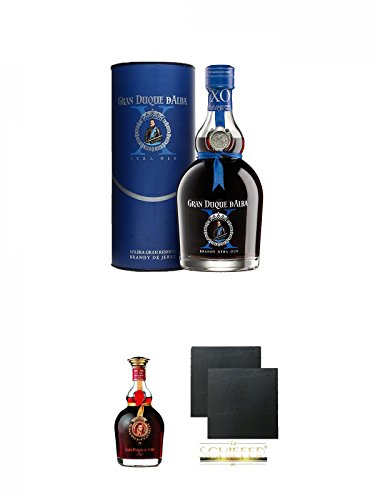 GRAN DUQUE D´ALBA - X.O. - 0,7 Liter + Gran Duque de Alba Oro 0,7 Liter + Schiefer Glasuntersetzer...