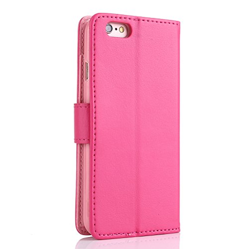 iPhone 6S Plus Hülle,L-FADNUT Premium Flip Cover Case PU Leder Tasche,Dual-Kartensteckplitz Metall Megnetic Verschluss Wallet Card Holder Schutz Hülle Etui Schale for iPhone 6 Plus / 6s Plus 5,5 Zoll  Rosa