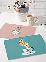 Brick Home Tea and Coffee Digital Printed Table Mat (Set of 2) (Teal and Peach)